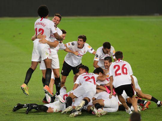 Sevilla celebrate their Europa League win over Inter Milan
