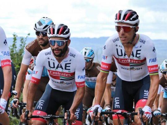 UAE Team Emirates riders Fernando Gaviria and Rui Costa