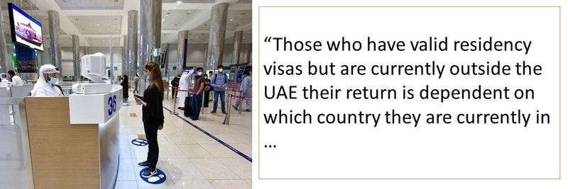 """Those who have valid residency visas but are currently outside the UAE their return is dependent on which country they are currently in …"