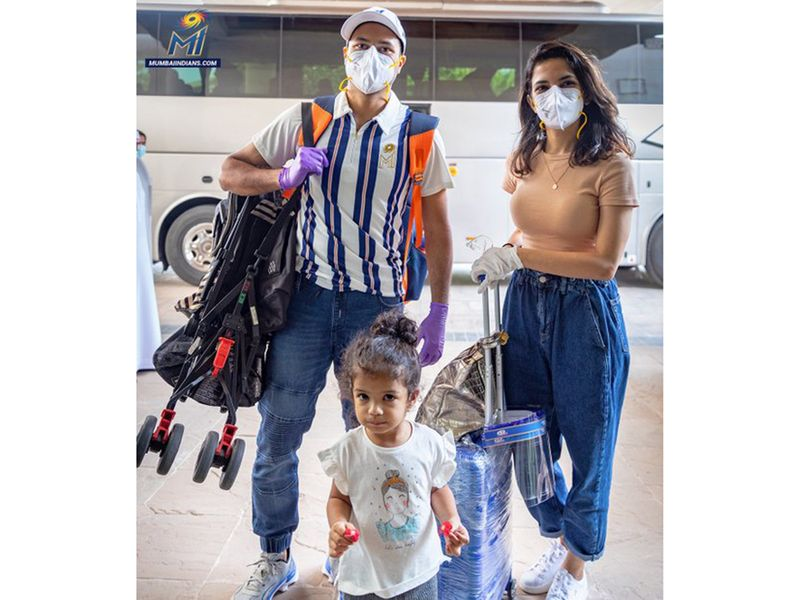 Aditya Tare and his family at the Mumbai Indians hotel