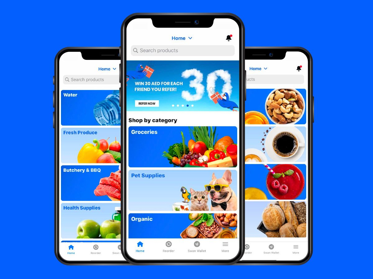 SWAN grocery delivery UAE App Screen