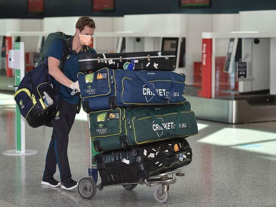 Steve Smith heads for his flight to England at Sydney Airport