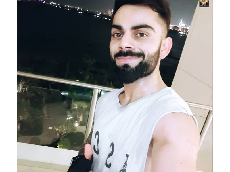 Virat Kohli gives the thumbs up after a workout in his hotel in Dubai