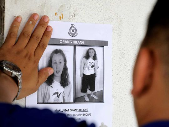 A photo of 15-year-old Irish girl Nora Anne Quoirin missing Malaysia