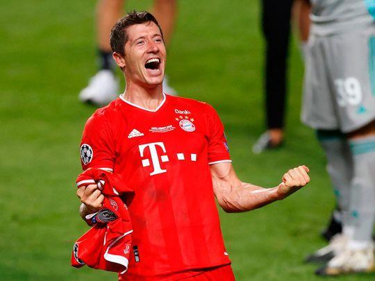 Bayern Munich's Robert Lewandowski celebrates at the final whistle