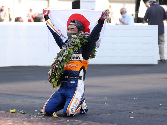 Takuma Sato celebrates his Indy 500 win