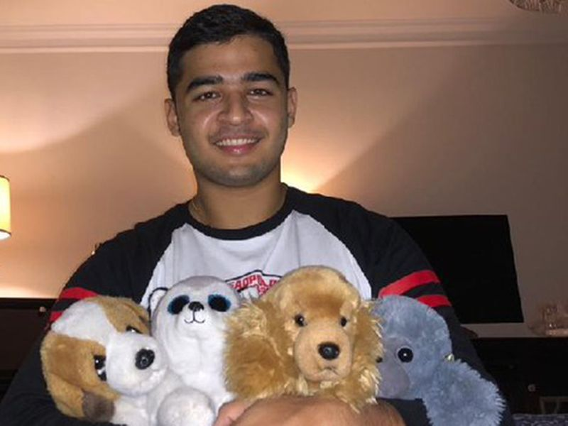 Rajasthan Royals' Riyan Parag had some cuddly toys to keep him company
