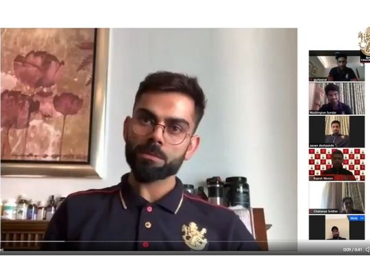 Virat Kohli holds a conference video call with his RCB teammates in Dubai