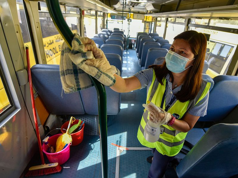 Dubai school bus cleaning