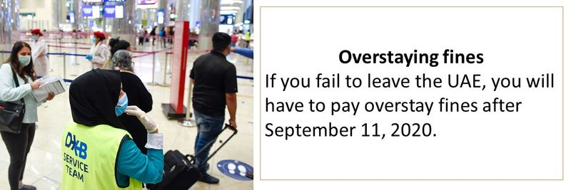Overstaying fines If you fail to leave the UAE, you will have to pay overstay fines after September 11, 2020.