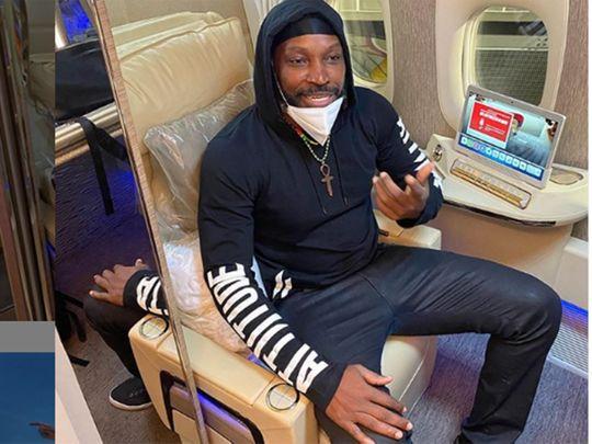 Chris Gayle posts from his flight to Dubai.