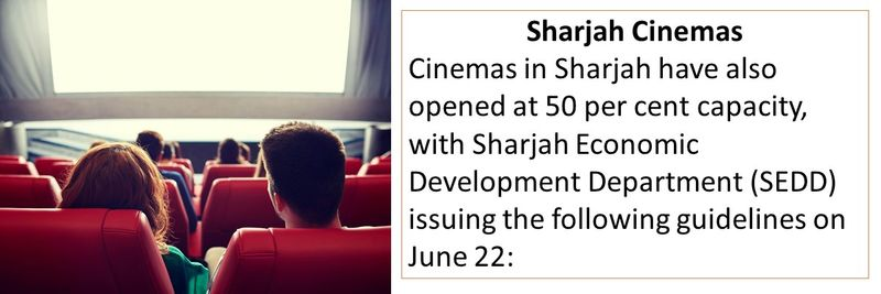Cinemas in Sharjah have also opened at 50 per cent capacity, with Sharjah Economic Development Department (SEDD) issuing the following guidelines on June 22