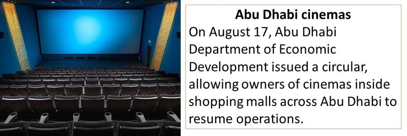 On August 17, Abu Dhabi Department of Economic Development issued a circular, allowing owners of cinemas inside shopping malls across Abu Dhabi to resume operations.
