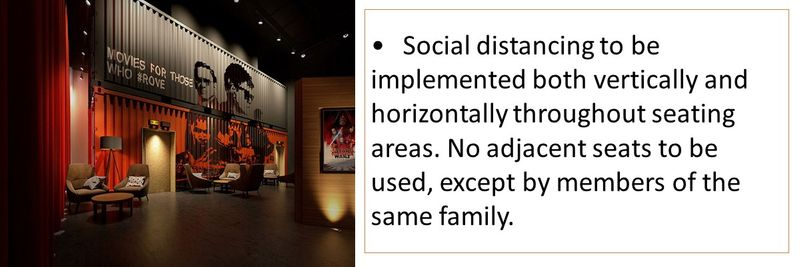 Social distancing to be implemented both vertically and horizontally throughout seating areas.