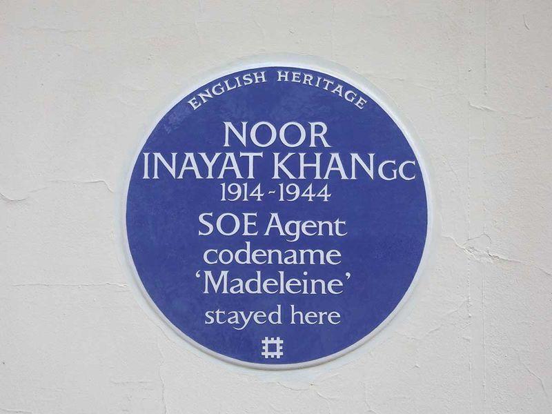 An English Heritage Blue Plaque Noor Inayat Khan