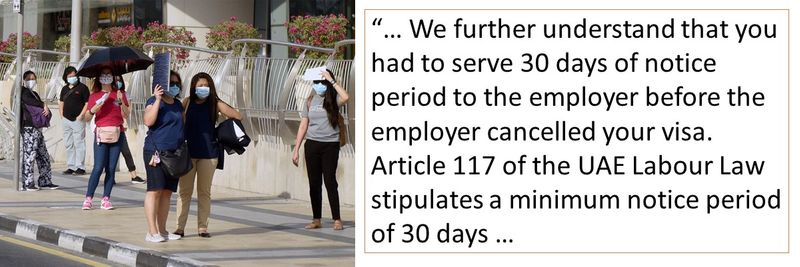 Article 117 of the UAE Labour Law stipulates a minimum notice period of 30 days