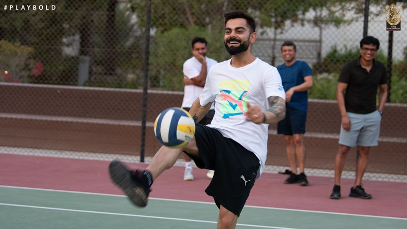 Virat Kohli enjoys a kickabout in Dubai