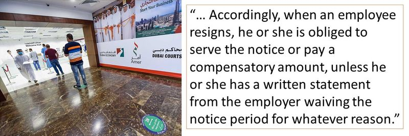 an employee resigns, he or she is obliged to serve the notice or pay a compensatory amount