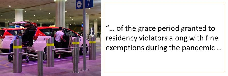 of the grace period granted to residency violators along with fine exemptions during the pandemic