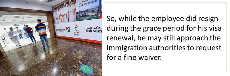 the employee did resign during the grace period for his visa renewal