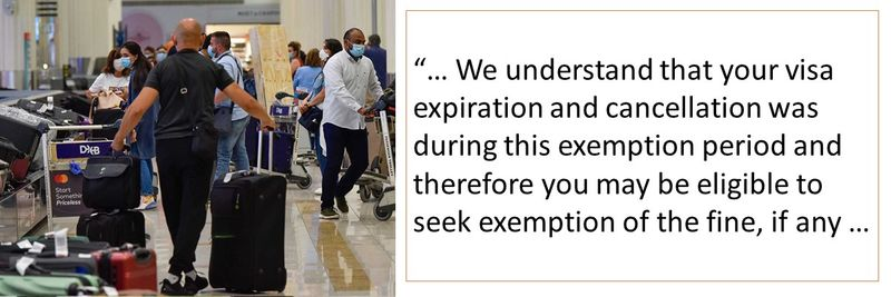 your visa expiration and cancellation was during this exemption period and therefore you may be eligible to seek exemption of the fine