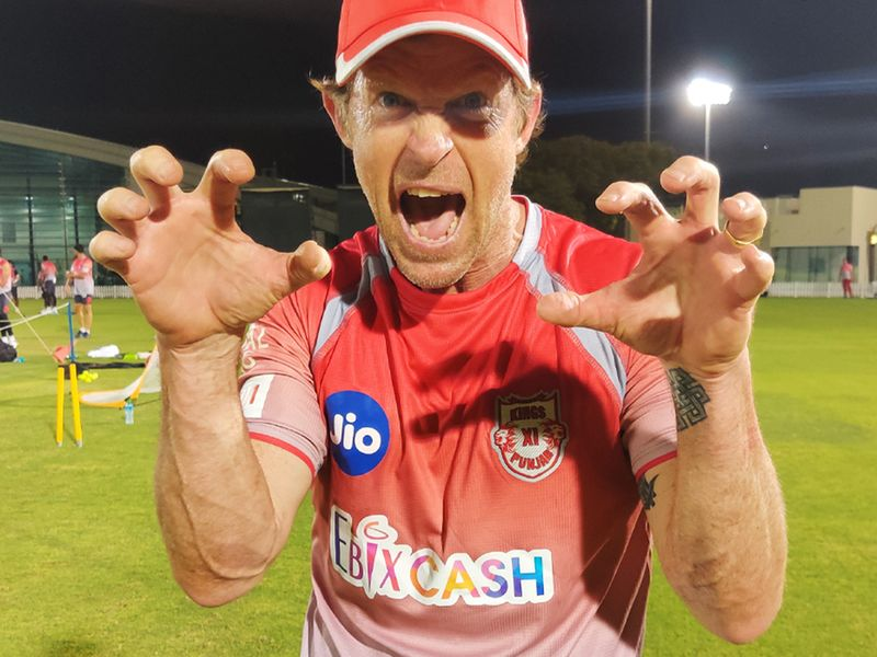 KXIP's Jonty Rhodes is well suited for the 'Lion's Den' as he bares his claws in training.