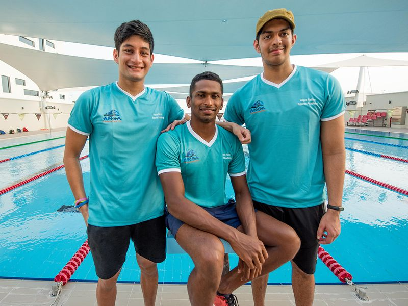 Left to Right, Kushagra Rawat, Sajan Prakash and Srihari Nataraj, at the Swiss International School in Jaddaf. Dubai. Photo: Antonin Kélian Kallouche/Gulf News