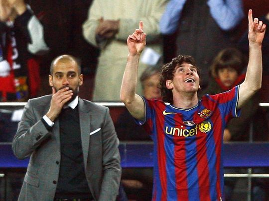 Lionel Messi and coach Pep Guardiola enjoyed great success together at Barcelona
