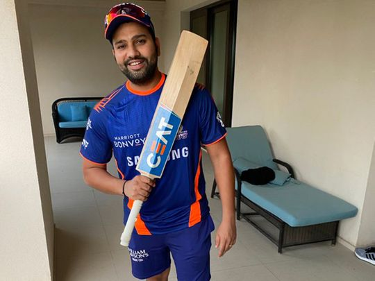 Rohit Sharma is ready for action for the Mumbai Indians.