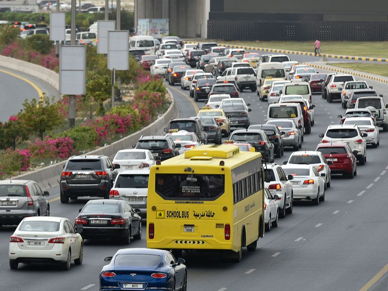 A school bus on Ittihad road in Sharjah heading towards Dubai during the morning rush hours, on the first day of school.