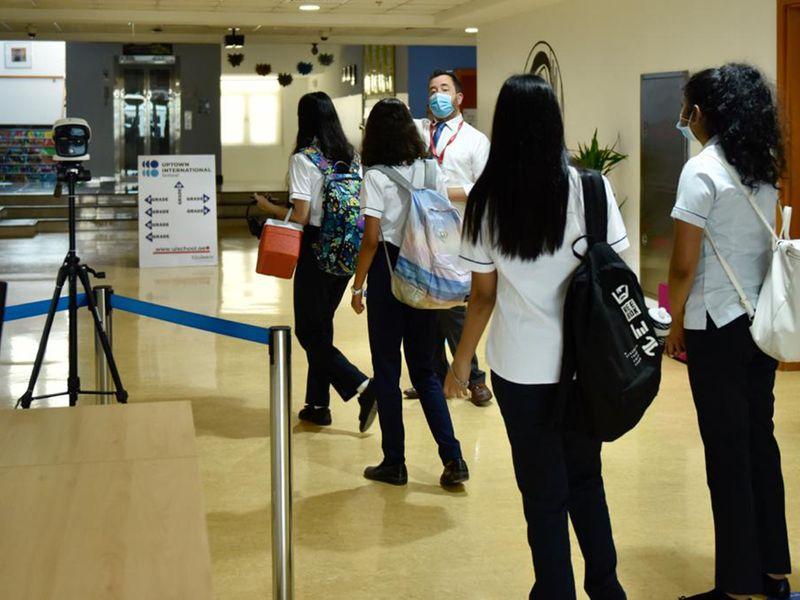 Students arrive at Uptown School Mirdif, Dubai.