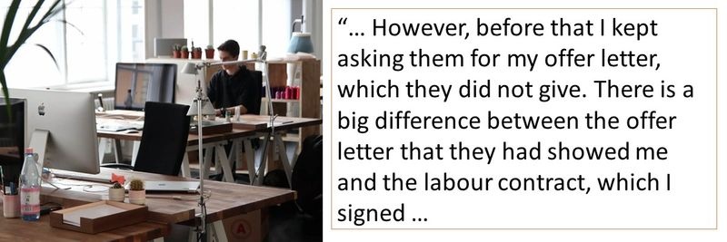 There is a big difference between the offer letter and the labour contract