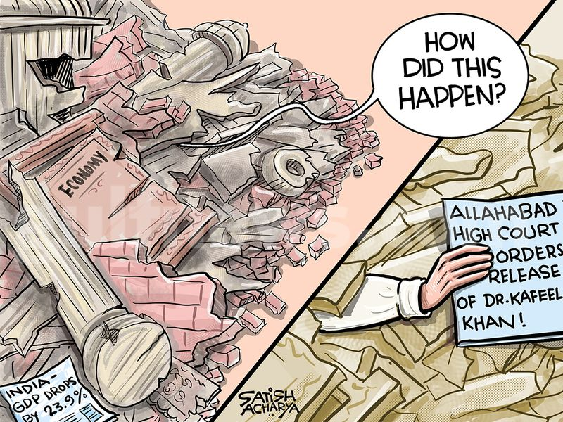 Cartoon from Satish Acharya - September 1: India's shrinking GDP and high profile case of Dr Kafeel Khan