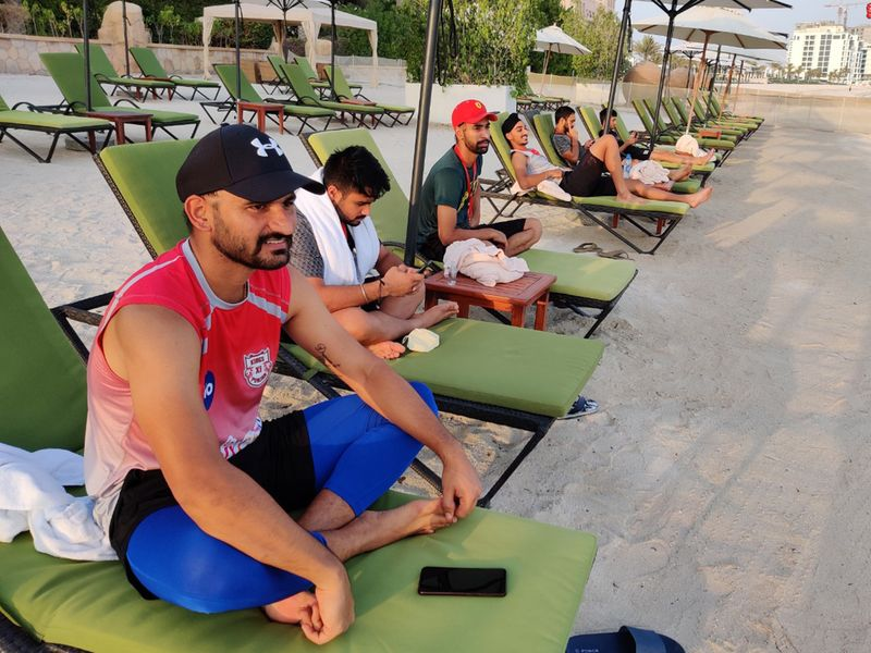 Kings XI Punjab have got their loungers marked out on their private beach at their hotel in Dubai.