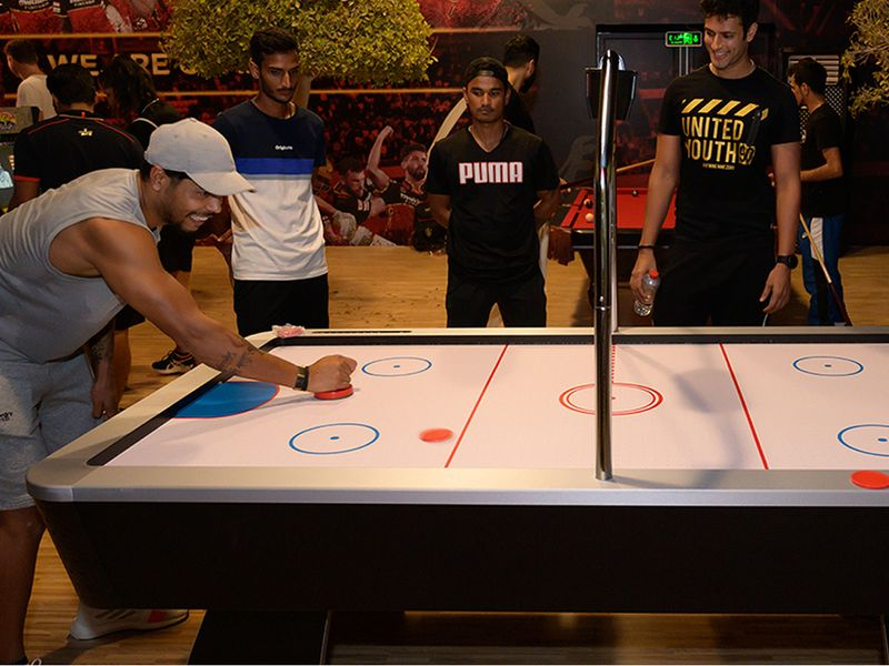 The air hockey table is also a big hit among the RCB stars.