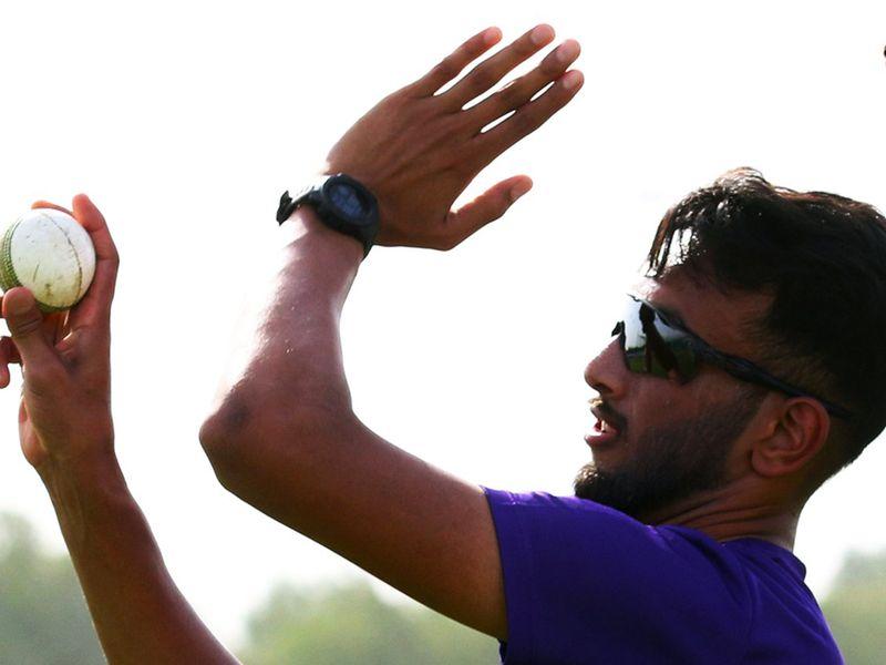 KKR's Prasidh Krishna kept his eye in with the ball.