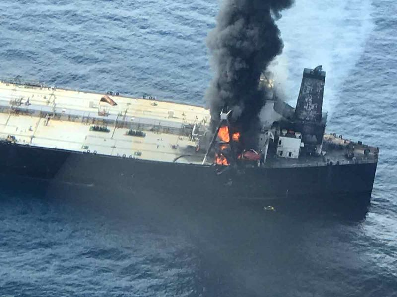 The New Diamond, a very large crude carrier (VLCC) chartered by Indian Oil Corp (IOC), that was carrying the equivalent of about 2 million barrels of oil, is seen after a fire broke out off east coast of Sri Lanka September 3, 2020.