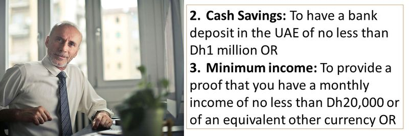 2. Cash Savings: To have a bank deposit in the UAE of no less than Dh1 million OR 3. Minimum income: To provide a proof that you have a monthly income of no less than Dh20,000 or of an equivalent other currency OR