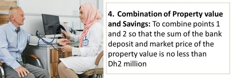 4. Combination of Property value and Savings: To combine points 1 and 2 so that the sum of the bank deposit and market price of the property value is no less than Dh2 million