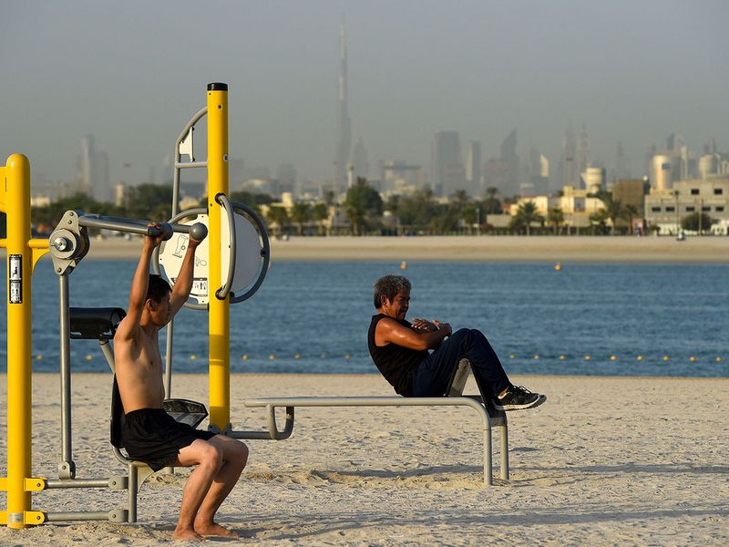 Beach exercise in Al Mamzar