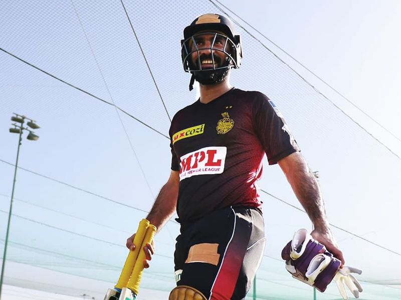 It was gloves on for Kolkata Knight Riders' skipper ahead of batting practice.