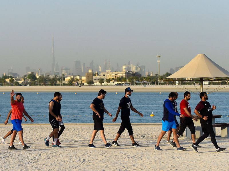 People workout at Al Mamzar