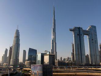 Stock Dubai skyline Burj Khalifa