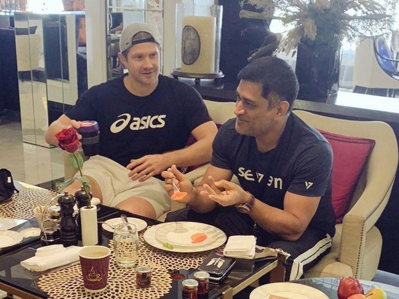 Chennai Super Kings' MS Dhoni and Shane Watson grab a bite after quarantine in Dubai