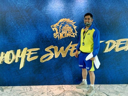 Chennai Super Kings captain MS Dhoni beams as he heads off for training in Dubai.