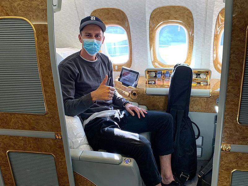 It was first-class dining all the way for Trent Boult as he jetted into the UAE to join his Mumbai Indians teammates