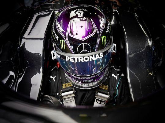 Mercedes' Lewis Hamilton during practice in Monza