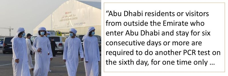 """Abu Dhabi residents or visitors from outside the Emirate who enter Abu Dhabi and stay for six consecutive days or more are required to do another PCR test on the sixth day, for one time only …"
