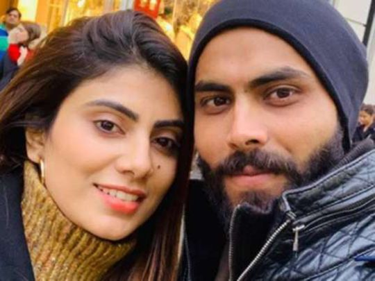 Chennai Super Kings' Ravindra Jadeja and his wife Rivaba
