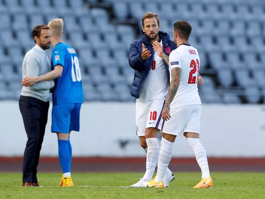 England boss Gareth Southgate at the end of the game against Iceland.